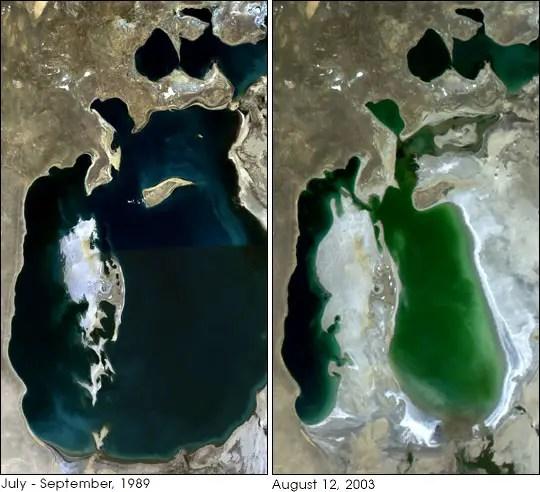 Imagen satelital del proceso de desertificación del mar Aral.