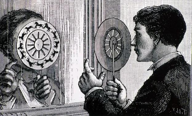 Ilustración de un hombre sosteniendo un fenantiscopio o estroboscopio.