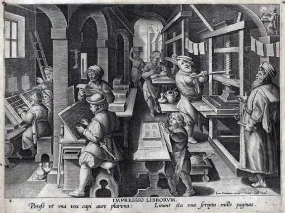Grabado de la impresión de un libro utilizando imprentas de tipos móviles.