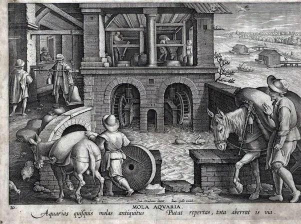 Grabado en el cual se ve a hombres con mulas ingresando a un molino de agua donde hay personas trabajando.