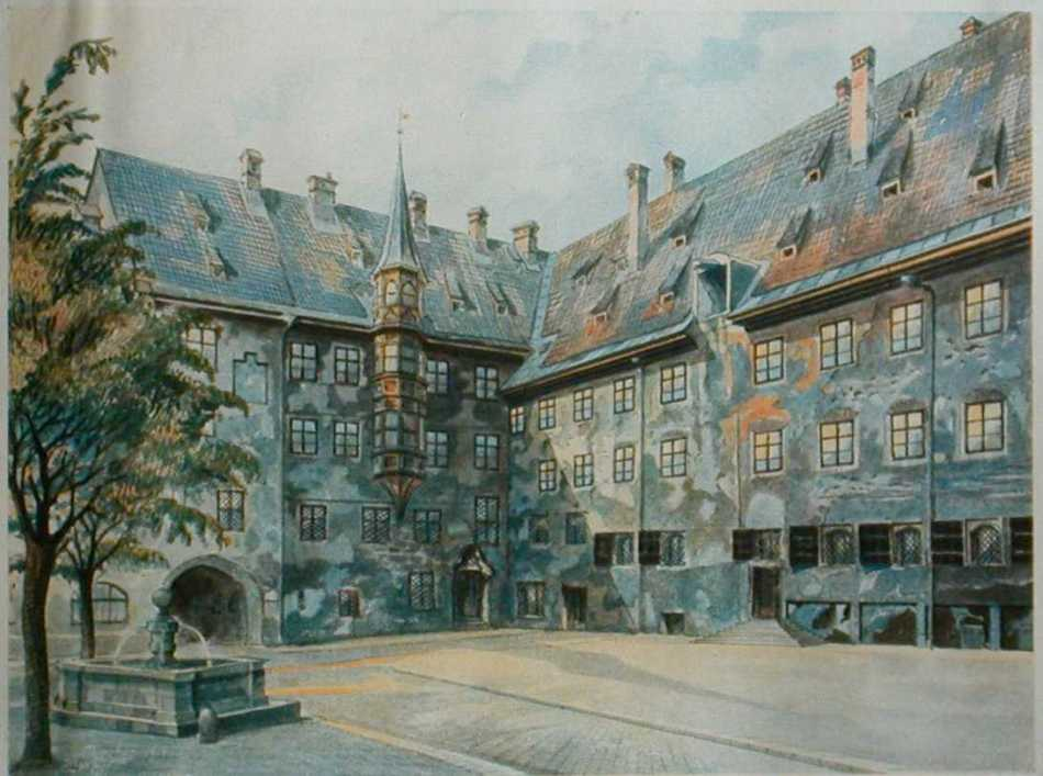 Pintura del patio interior de una mansión, pueden verse además un árbol y una fuente de agua.