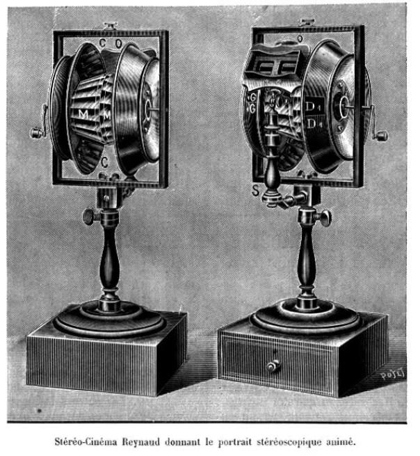 Ilustración de un antiguo stereo cinema.