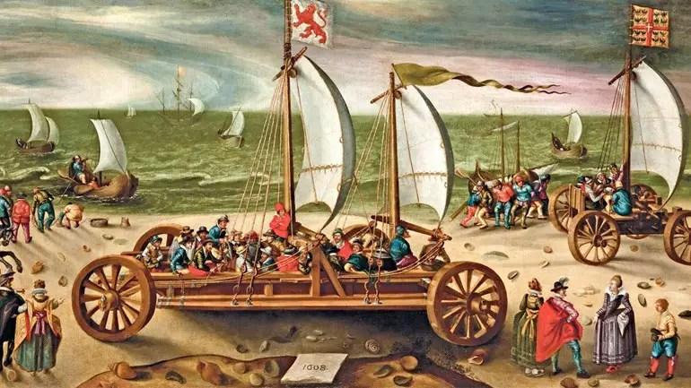 Ilustración de veleros de tierra.