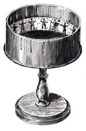 Ilustración de un antiguo zootropo.