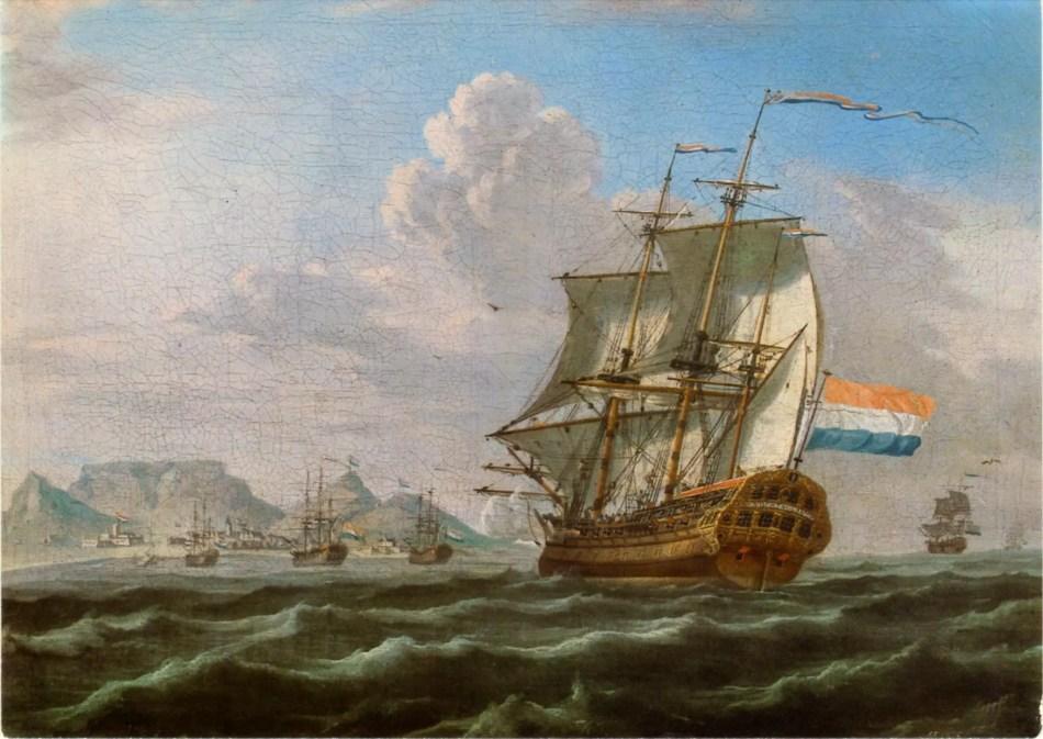 Pintura en la cual vemos un navío de guerra holandés flameando la bandera del príncipe de Holanda.