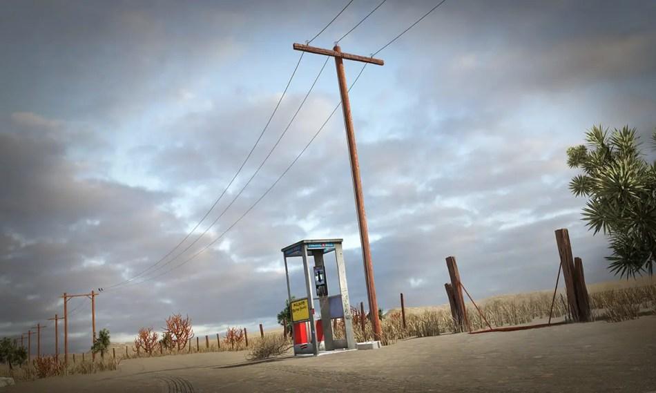 Exterior de la cabina telefónica de Mojave.