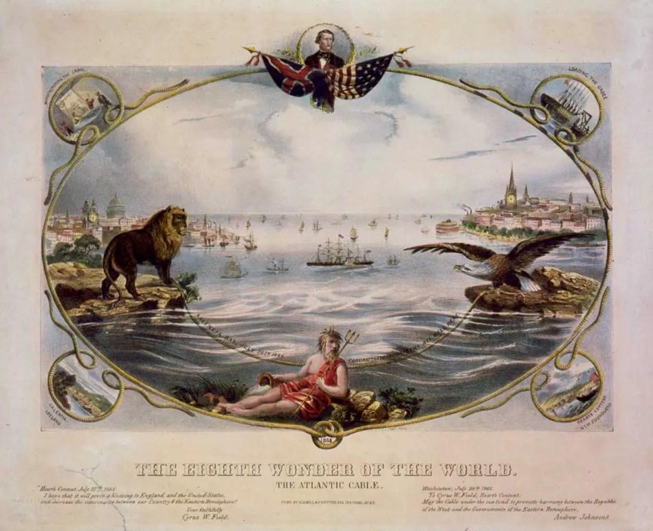 Grabado conmemorativo del primer cable transoceánico de telégrafo entre el Reino Unido y lso Estados Unidos.