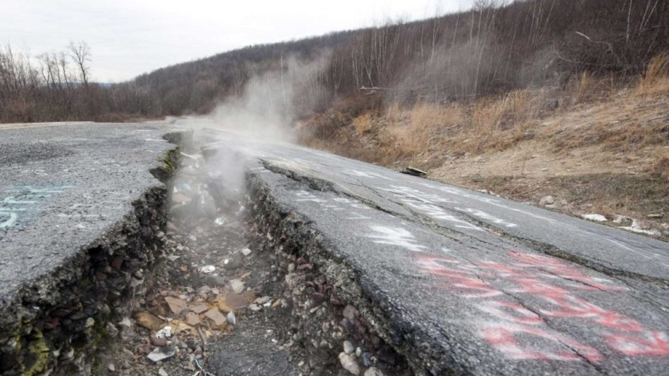 Carretera quebrada de Centralia.