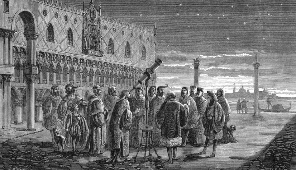 Grabado de Galileo Galilei demostrando su telescopio.