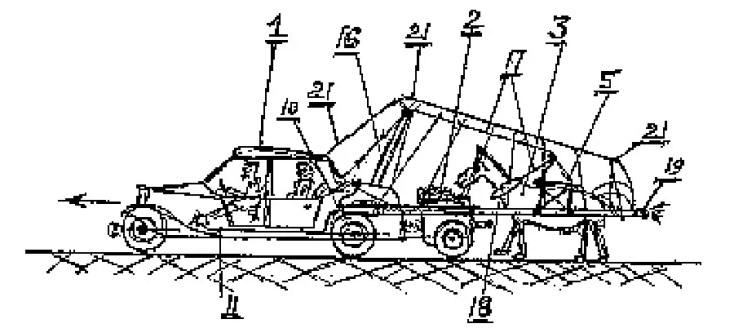 Ilustración de un patente mostrando un caballo tirando un automóvil