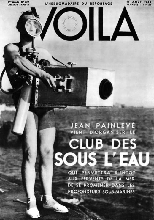 Tapa de la revista Voila en la que vemos a jean Painlevé sosteniendo una cámara.