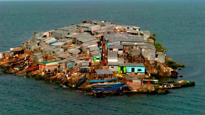 Vista aérea de la isla de Migingo.