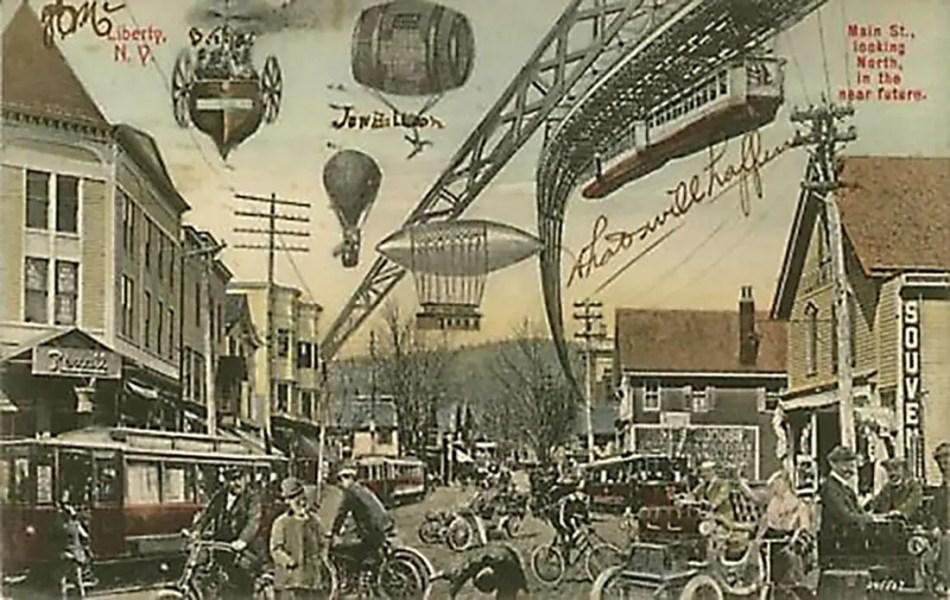 Postal del siglo XIX imaginando el futuro, vemos todo tipo de globos aerostáticos, dirigibles, monorieles y vehículos voladores.