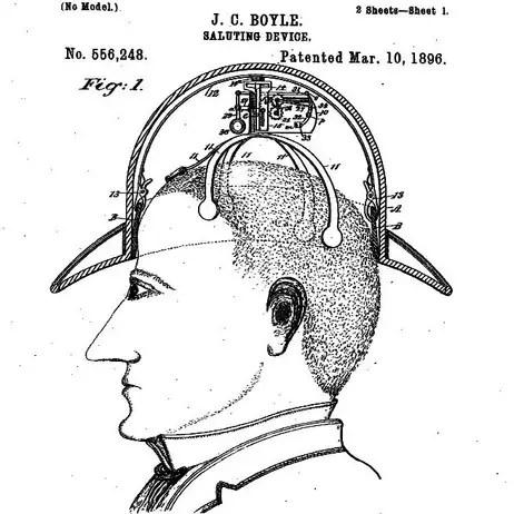 Detalle de la patente de James C. Boyle donde apreciamos el sistema interno de elevación del sombrero.