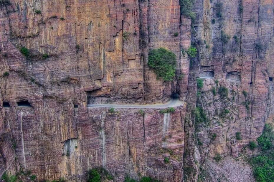 Fotografía aérea del túnel de Guoliang.