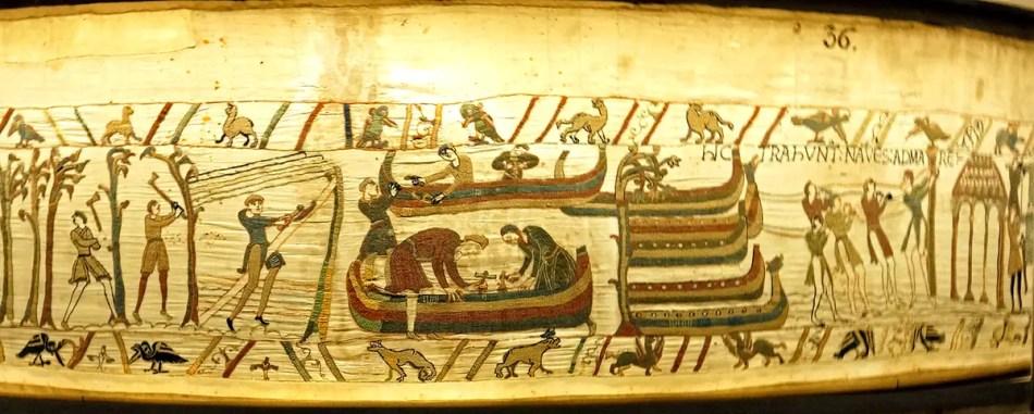 Parte del fragmento 35 y el 39 del tapiz de Bayeux.