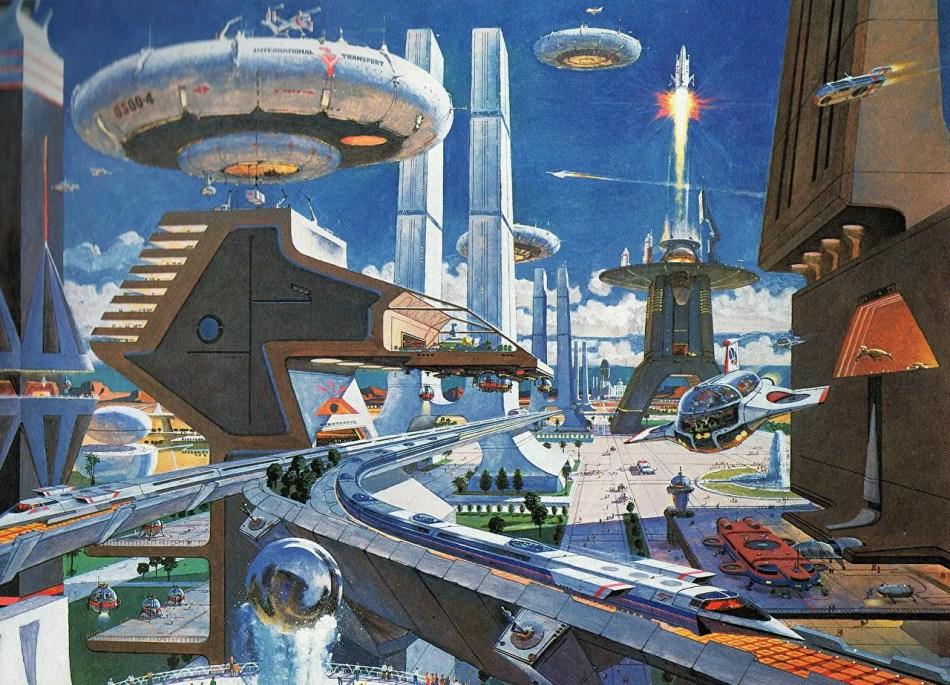 Pintura de una ciudad futura.
