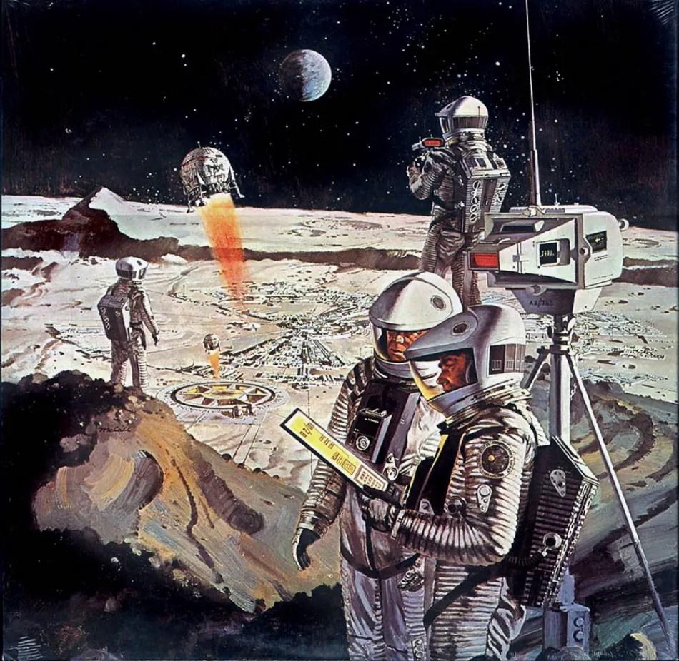 Ilustración de una colonia lunar por Robert McCall.