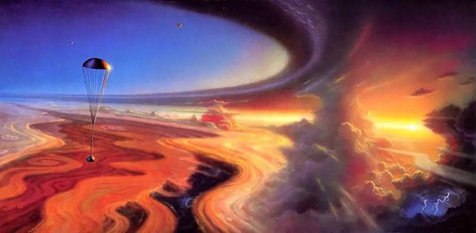 Ilustración de la Galileo Probe descendiendo en la atmósfera de Júpiter.