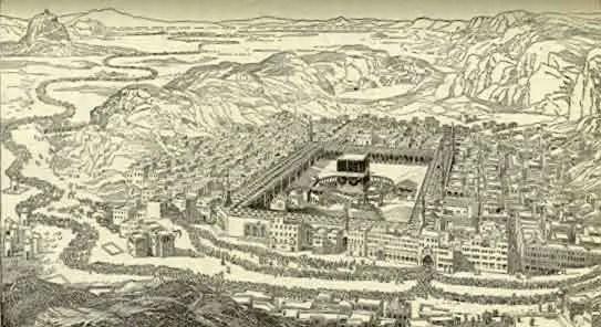 Ilustración de la Meca durante los inicios y mediados del siglo XIX.