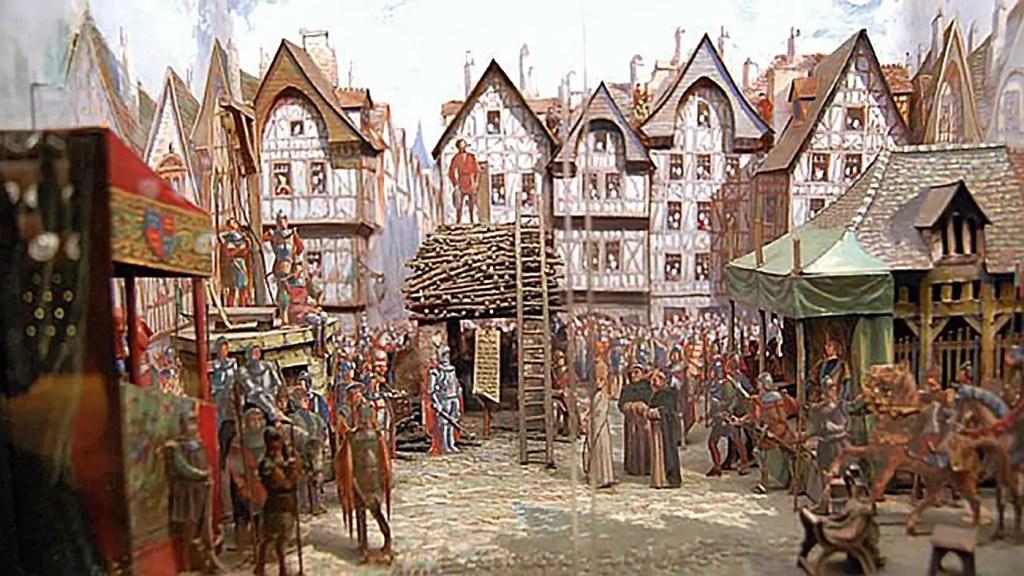 Maqueta que reconstruye la ejecución de Juana de Arco.