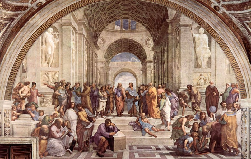 Vemos en la obra de los filósofos de Rafael a Miguel Ángel en el centro.