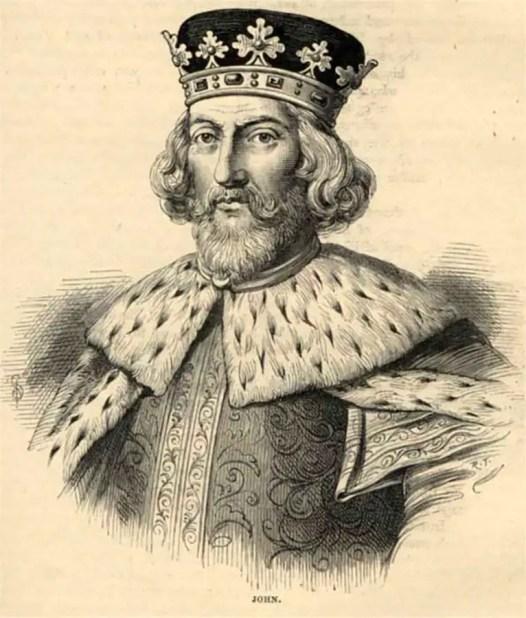 Retrato del Rey normando John. Quien reinara Inglaterra durante el siglo XIII.