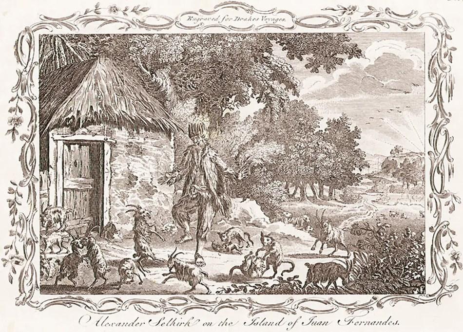 Grabado retratando a Alexander Selkirk en la isla Juan Fernández.