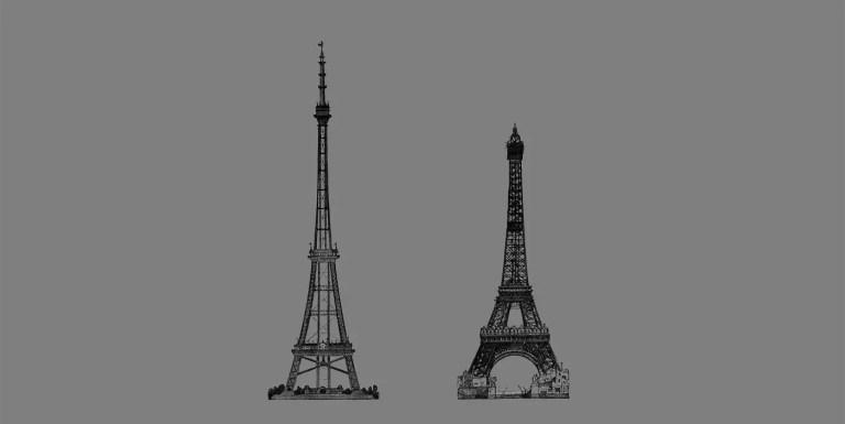 Comparación de la torre de Wembley (izquierda) y la torre Eifeel (derecha).