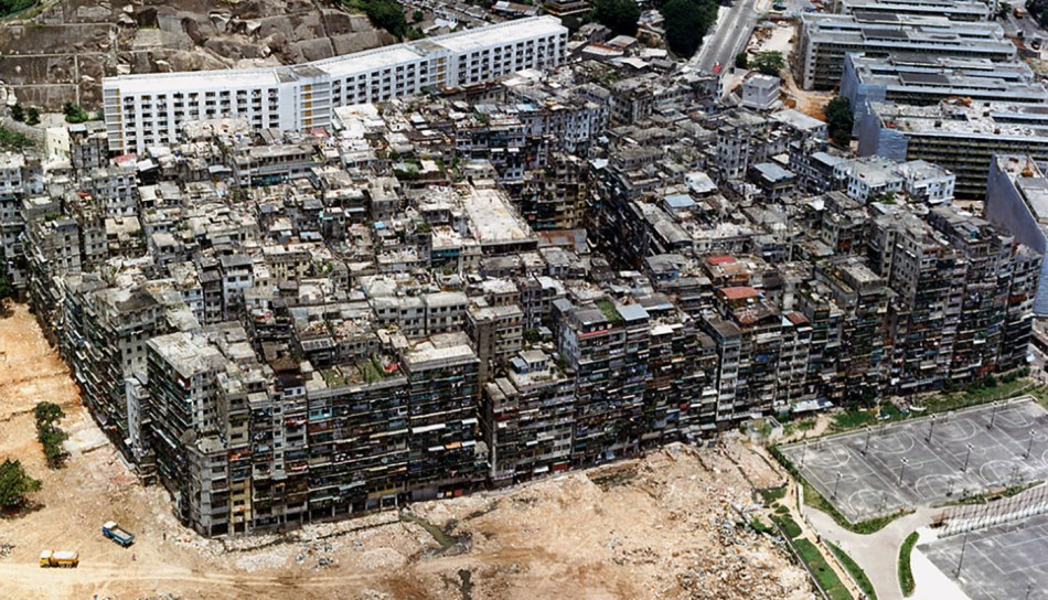 Vista aérea de la ciudad fortaleza de Kowloon.