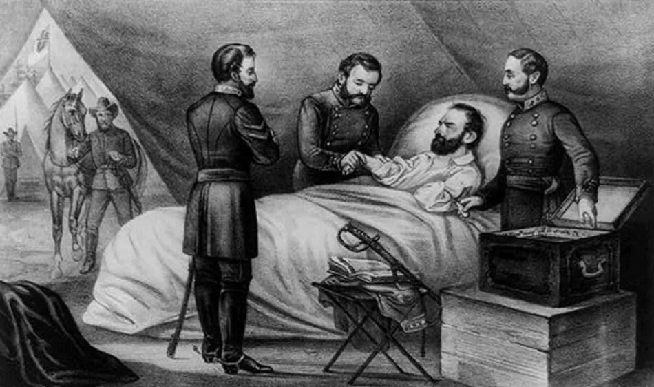 Ilustración de un oficial convaleciente de la Guerra Civil Americana.