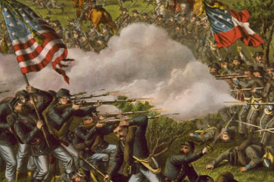 Ilustración de una cruenta batalla durante la Guerra Civil Americana.