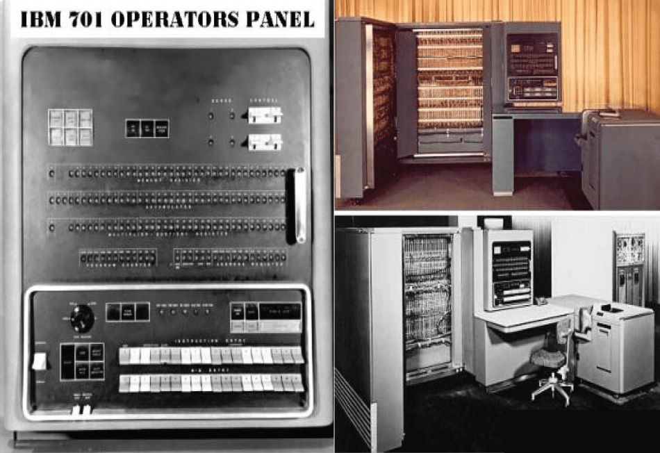 Fotografía del primer superordenador, el IBM 701