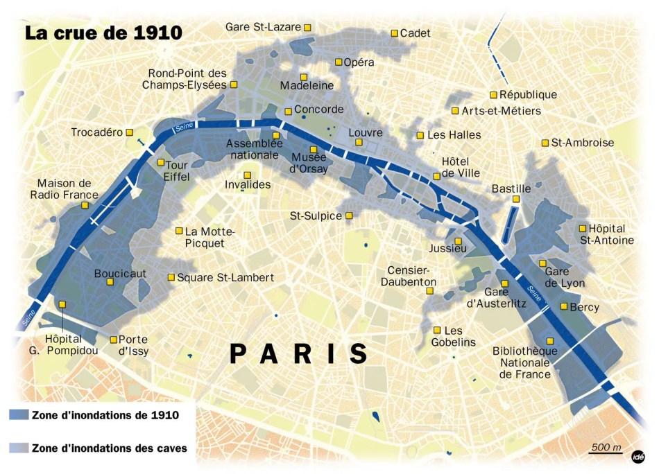 Mapa mostrando el trayecto original del Sena.