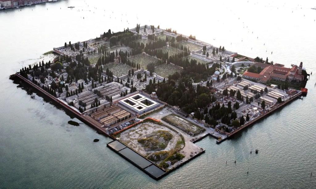 Vista aérea de la Isola di San Michele, el cementerio de Venecia.