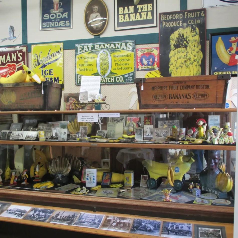 Varios elementos en exposición hallados en el Museo de la Banana.
