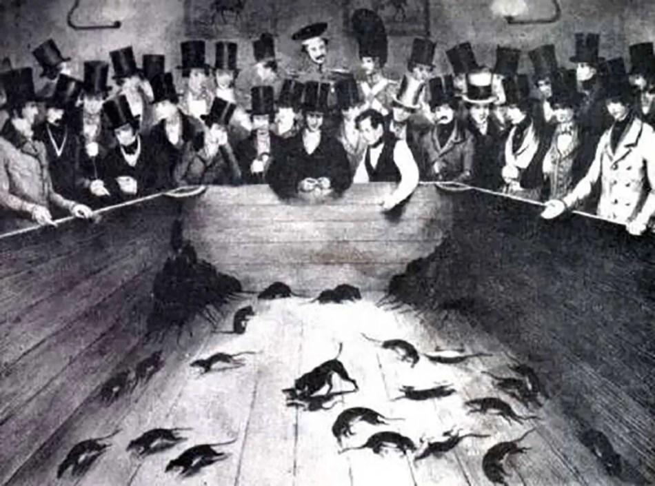 Ilustración de una pelea de ratas en el Reino Unido durante la época victoriana y sus inusuales apuestas sangrientas.