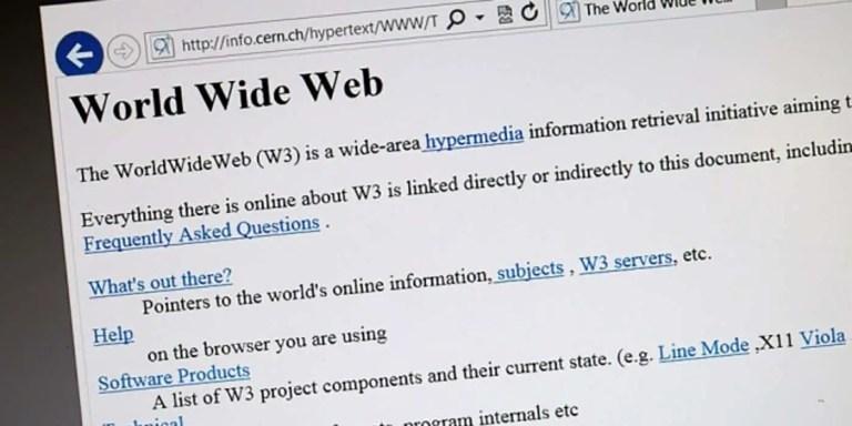 La primera página de Internet, el sitio web de Tim Berners-Lee en el CERN