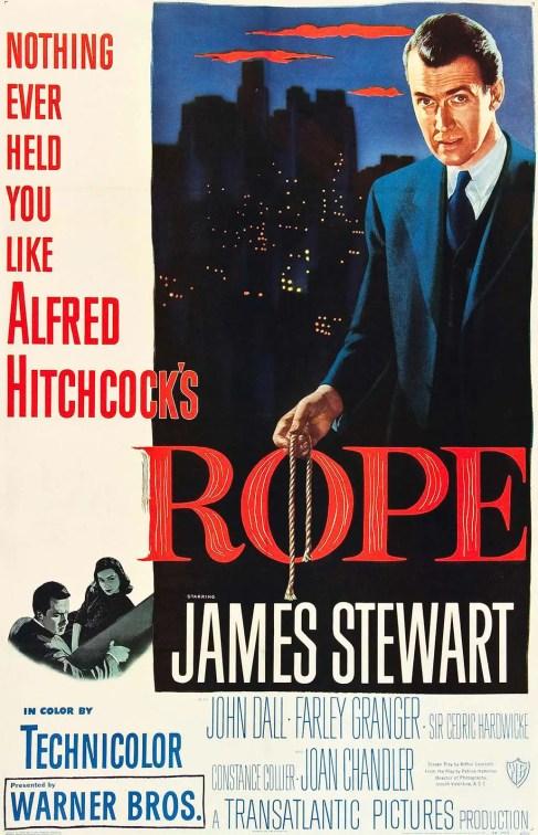 Afiche publicitario de Rope, una de las primeras películas filmadas en una sola toma.