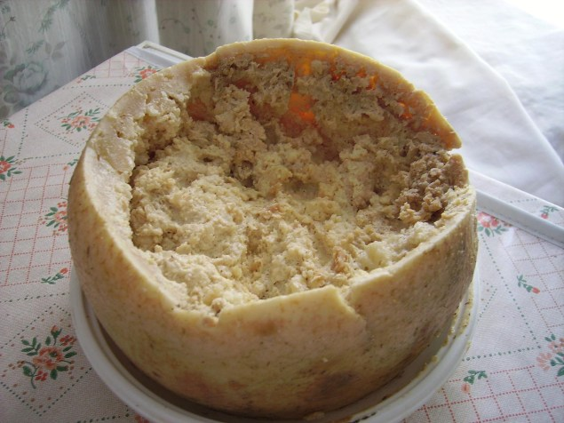 Detalle de una horma de queso casu marzu.