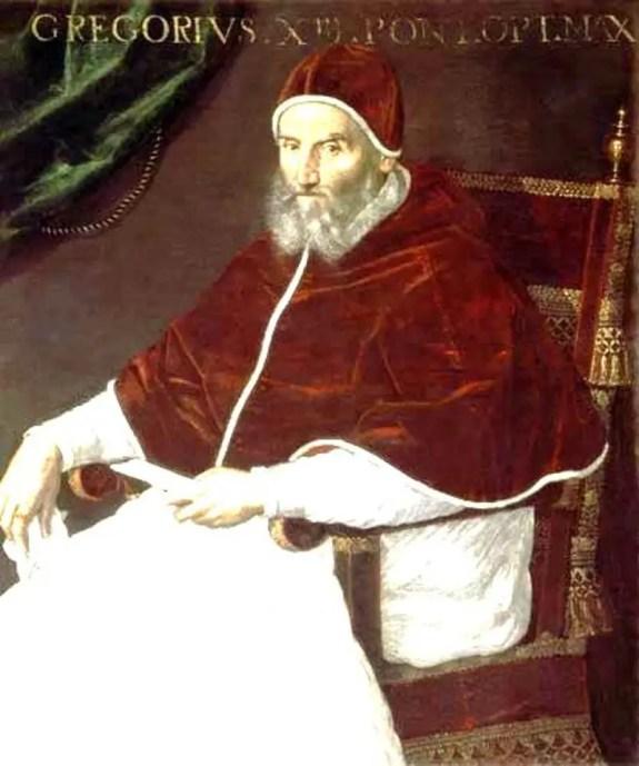 Retrato del Papa Gregorio XIII, responsable de haber organizado la transición del calendario juliano al gregoriano.