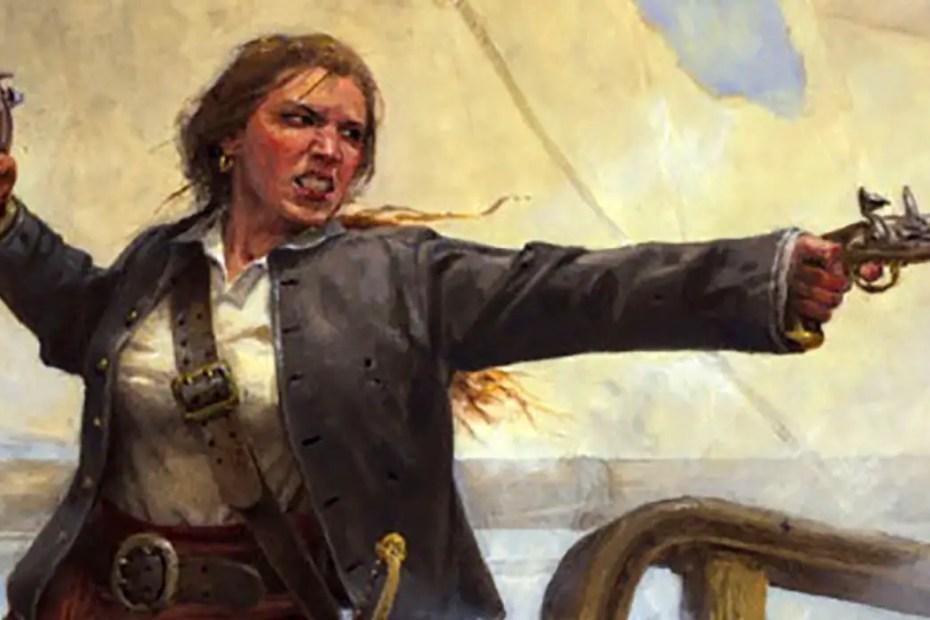 La mujer pirata Anne Bonny disparando un arma de fuego del siglo XVIII.