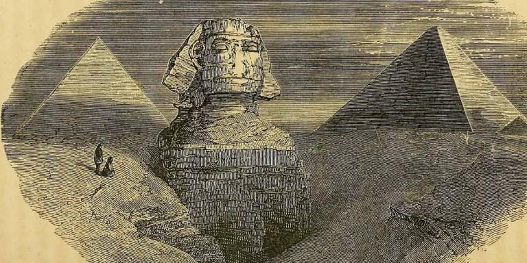 Grabado antiguo de la Esfinge y las pirámides.