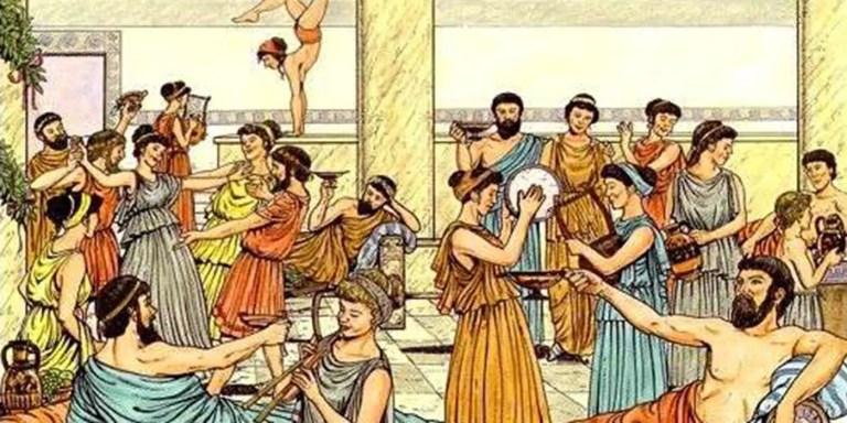 Ilustración de una fiesta en la antigua Grecia. La cultura griega es responsable de muchos de los Significado de los dichos populares actuales.