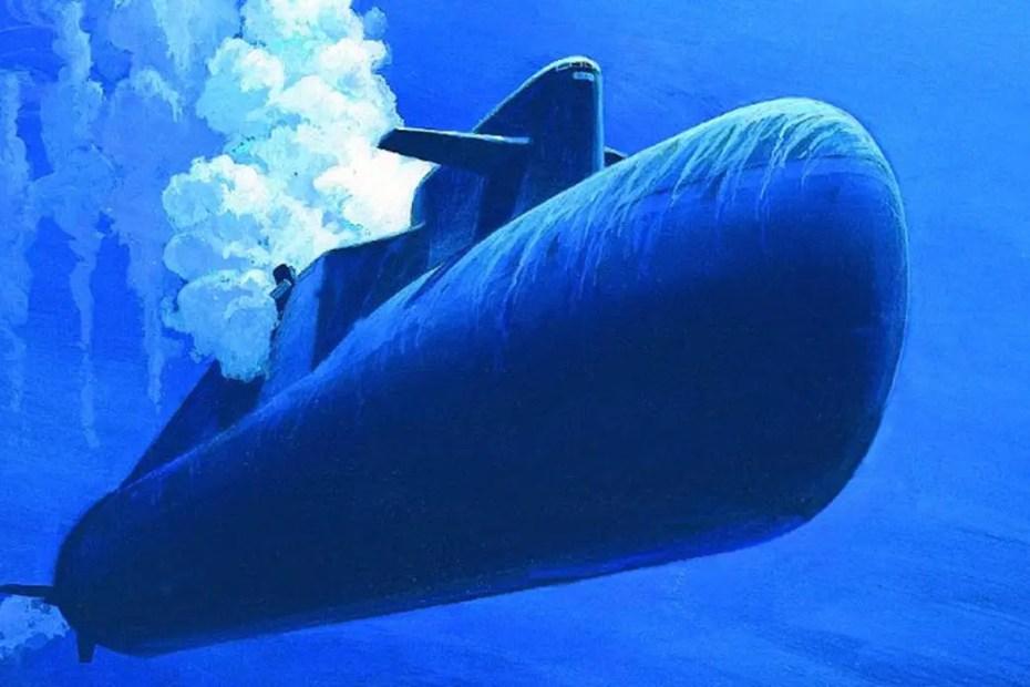 Ilustración de un submarino sumergido bajo el agua.