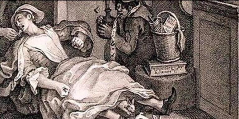 Grabado mostrando a Mary Toft dando a luz a sus conejos.