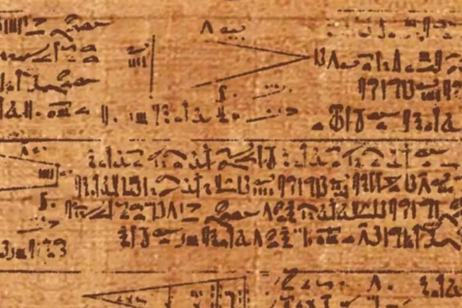 Detalle del papiro de Rhind, el texto matemático más antiguo.