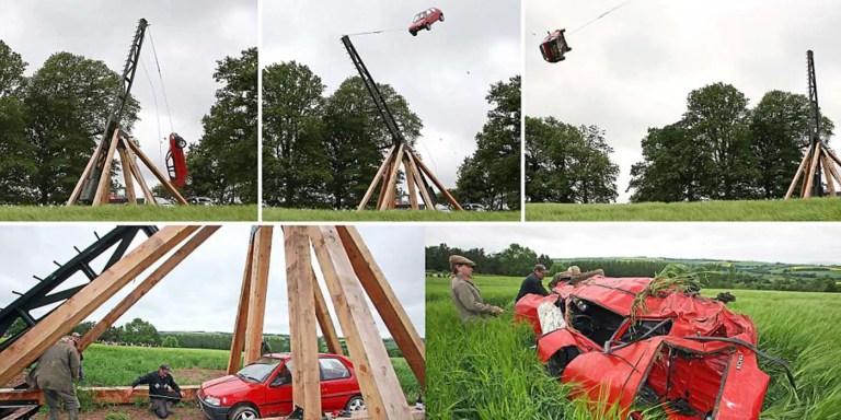 El trebuchet gigante más grande del mundo, capaz de lanzar automóviles
