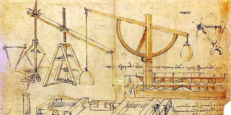 Ilustración técnica de un sistema de poleas y engranajes de Leonardo Da Vinci. Codex romanoff y los modales.