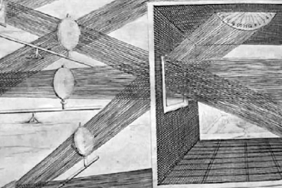 Estudio de los espejos de Athanasius Kircher. Su estudio de los espejos y la óptica fueron fundamentales para la invención del microscopio.